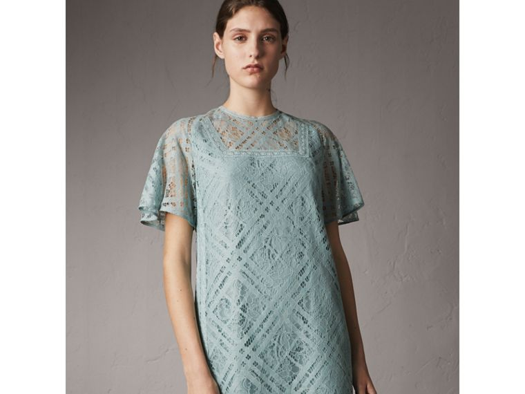 Flare-sleeve Check Lace Shift Dress in Pale Slate Blue - Women | Burberry - cell image 4