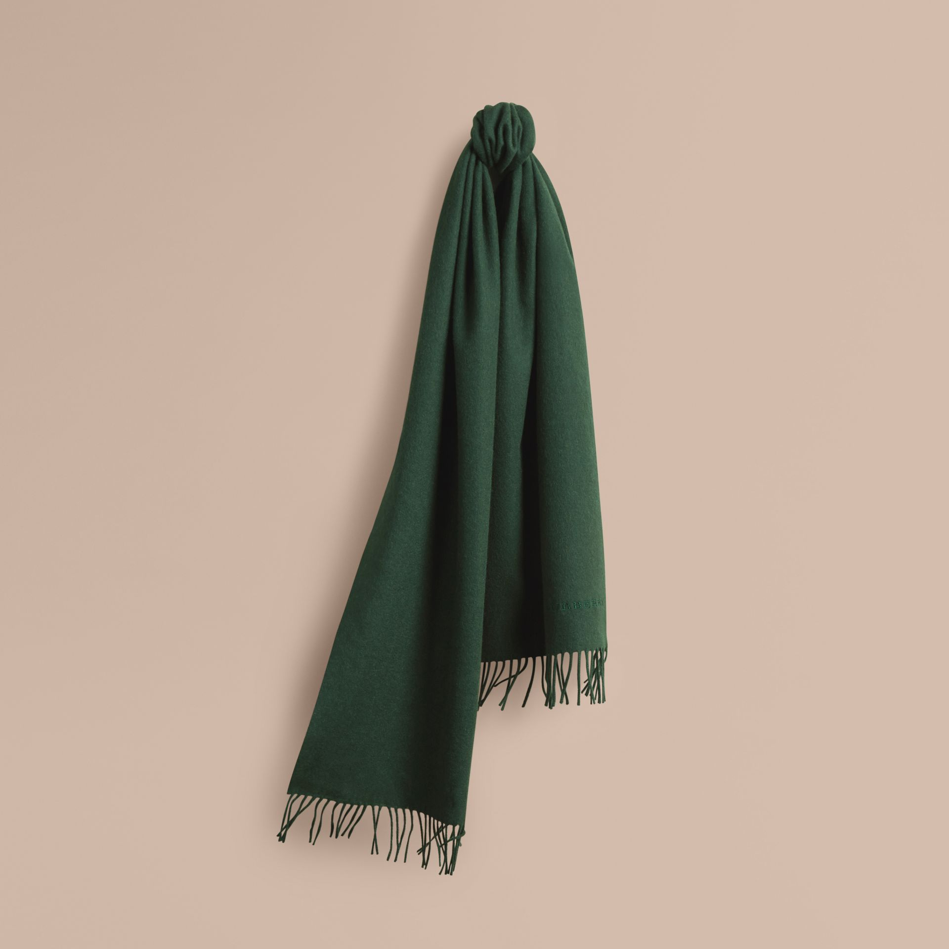 The Classic Cashmere Scarf in Dark Forest Green - gallery image 6