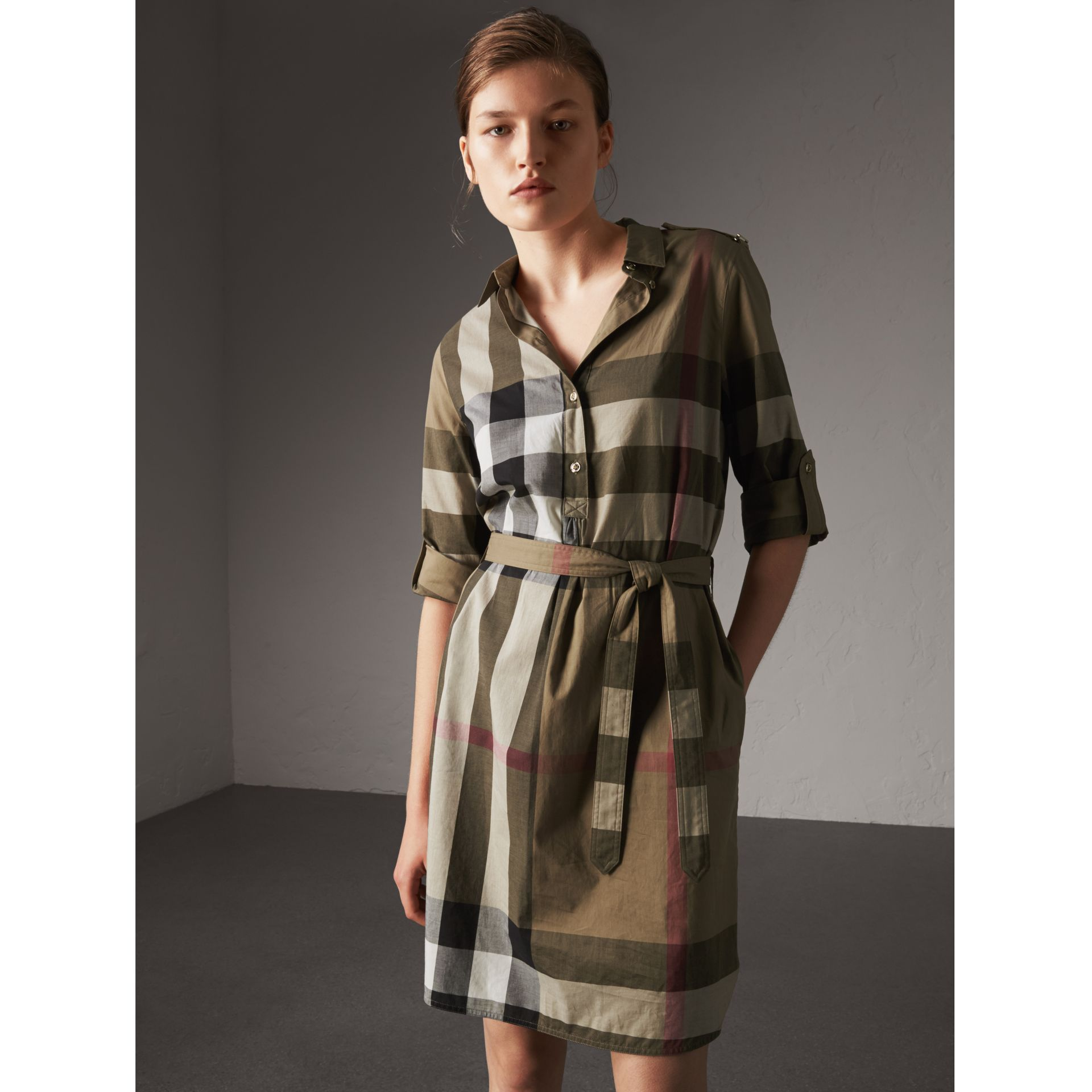 Check Cotton Shirt Dress in Taupe Brown - Women | Burberry Singapore - gallery image 1
