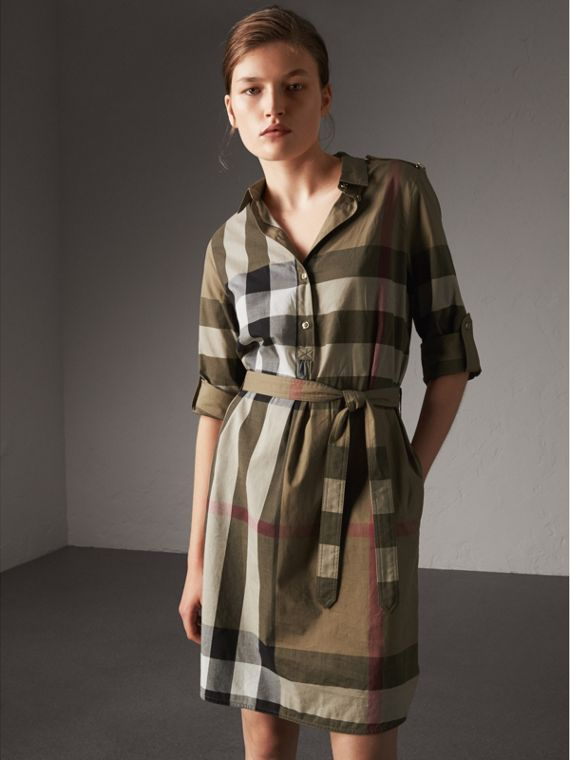 Check Cotton Shirt Dress in Taupe Brown - Women | Burberry