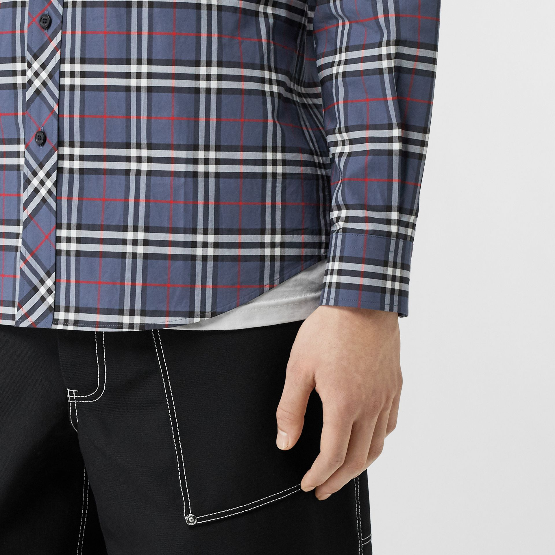 Small Scale Check Stretch Cotton Shirt in Carbon Blue - Men | Burberry - gallery image 4