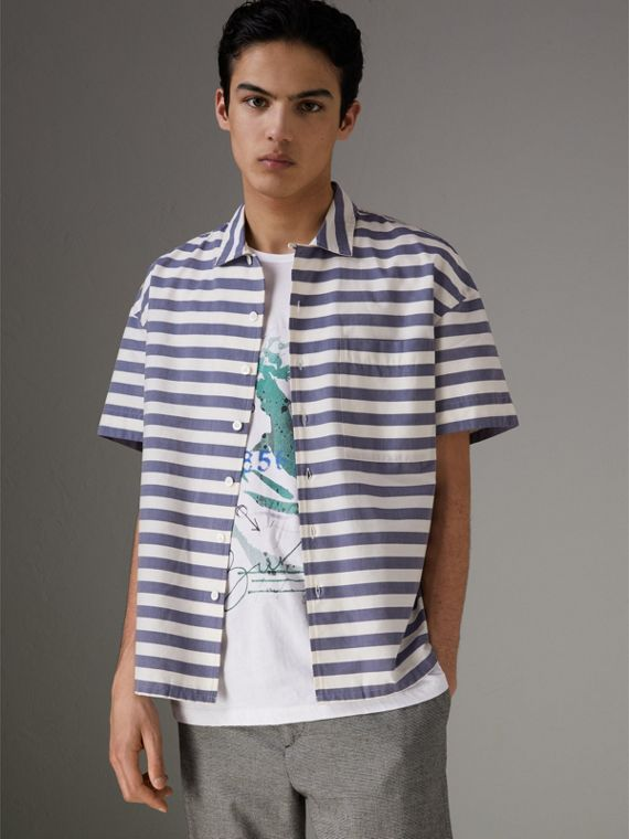 Short-sleeve Striped Cotton Shirt in Steel Blue