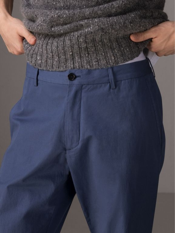 Cotton Twill Chinos in Steel Blue - Men | Burberry - cell image 1