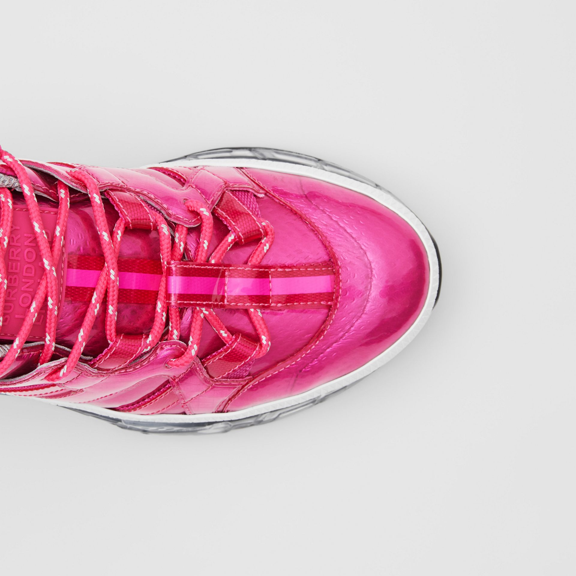 Vinyl and Nylon Union Sneakers in Fuchsia - Women | Burberry - gallery image 1