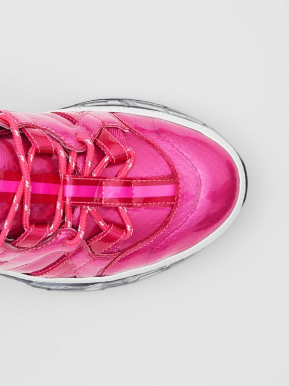 Vinyl and Nylon Union Sneakers in Fuchsia - Women | Burberry - cell image 1