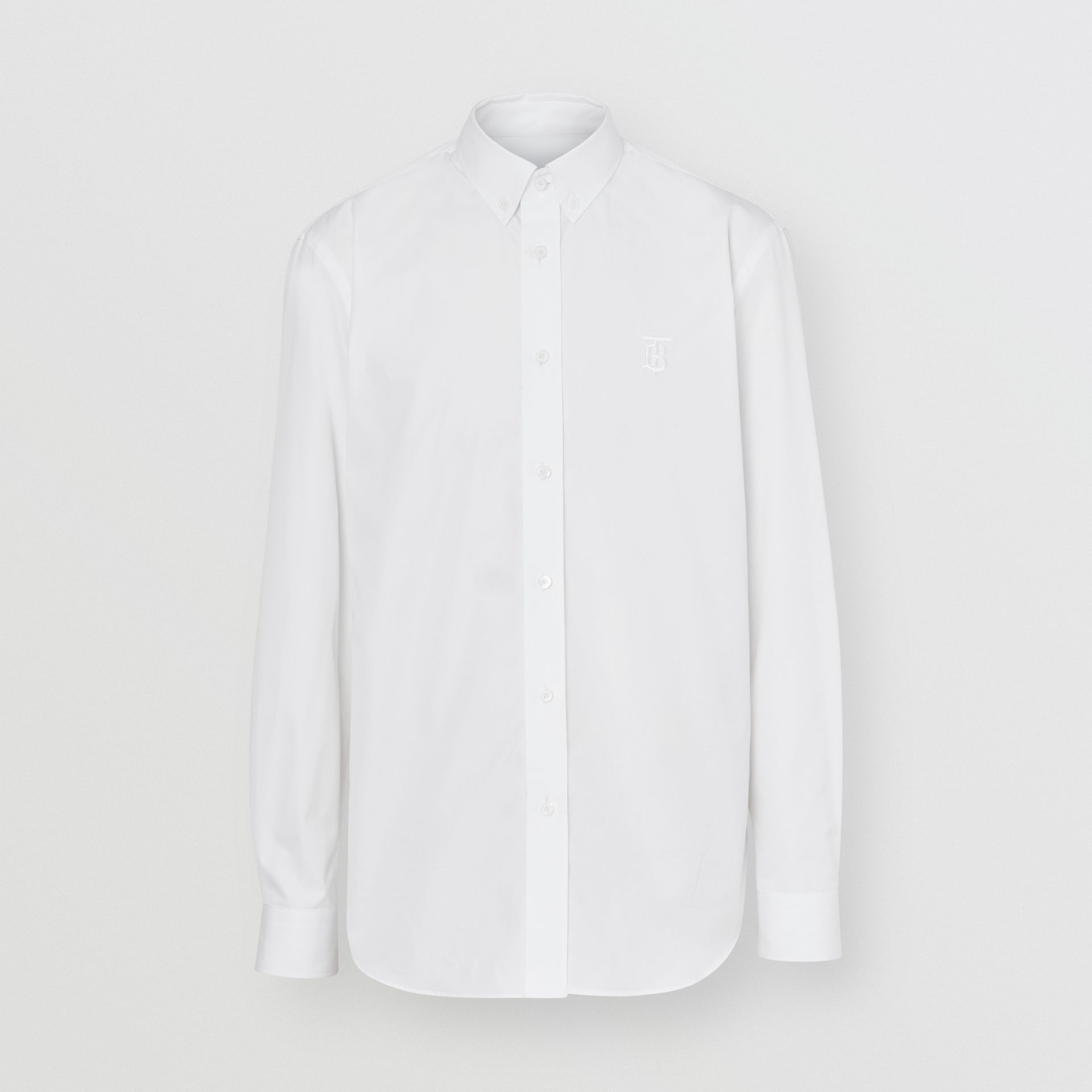 Button-down Collar Monogram Motif Cotton Shirt in Optic White | Burberry - gallery image 3