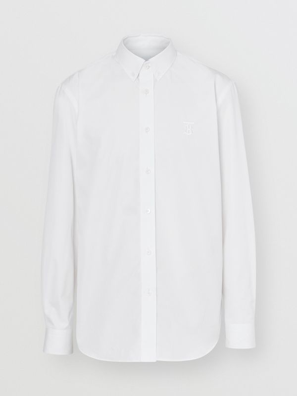Button-down Collar Monogram Motif Cotton Shirt in Optic White | Burberry - cell image 3