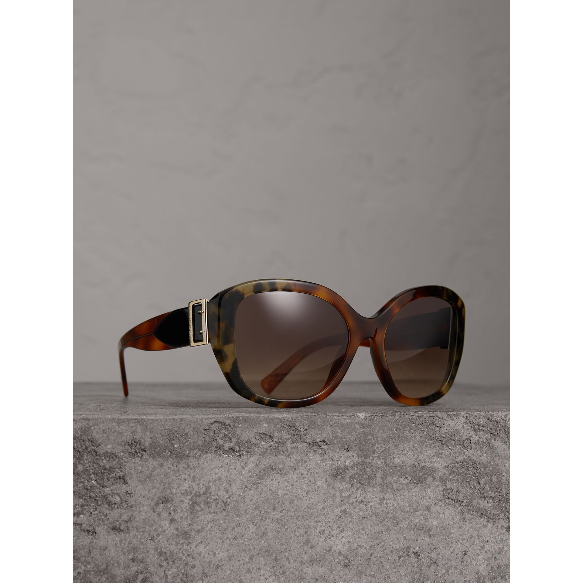 Buckle Detail Oversize Square Frame Sunglasses in Dark Ochre - Women | Burberry - gallery image 0
