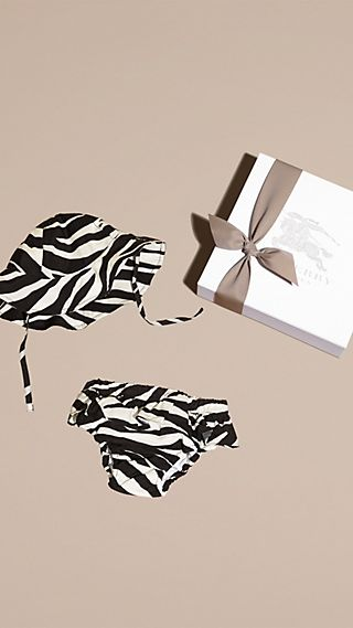 Zebra Print Swimwear and Hat Set