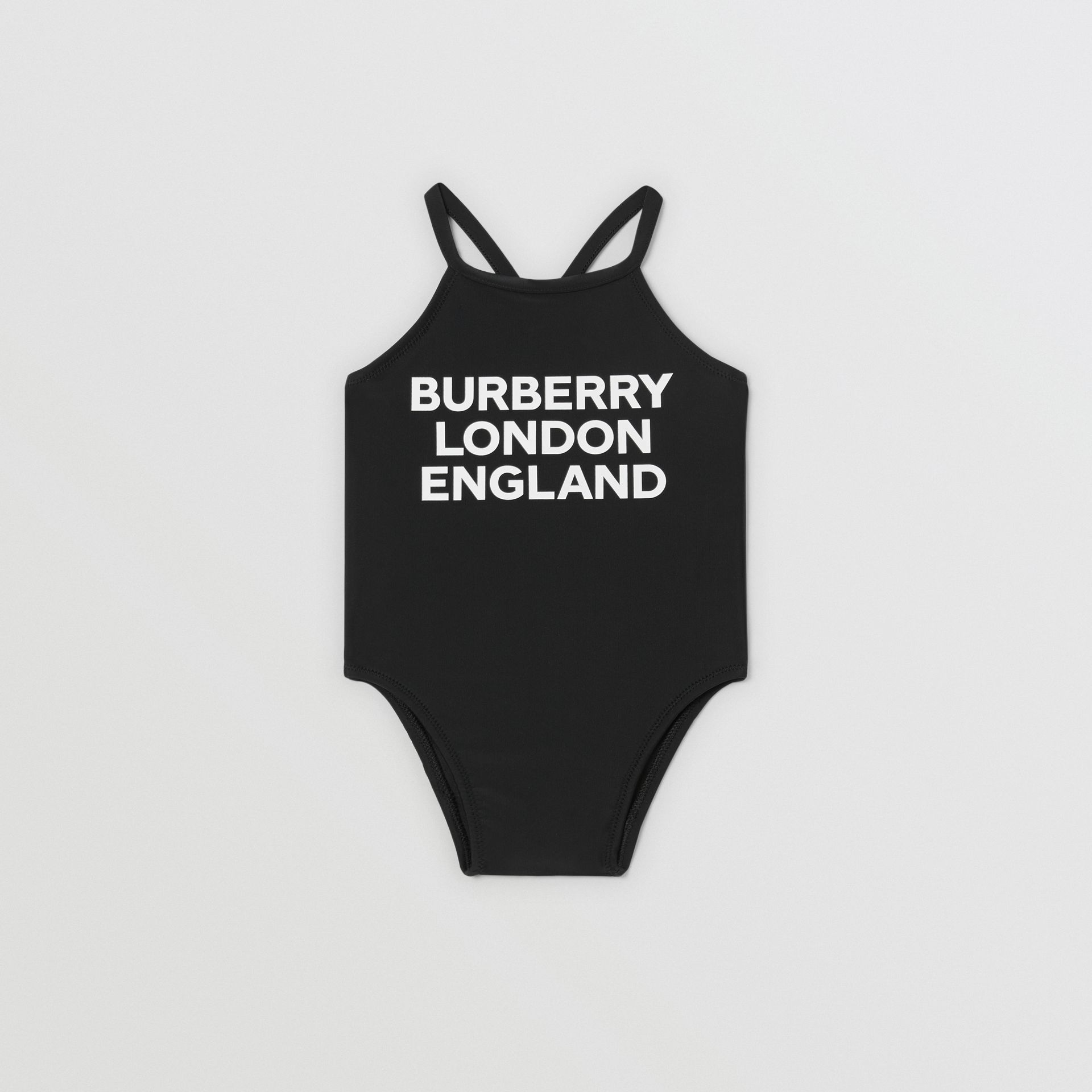 Logo Print Swimsuit in Black - Children | Burberry Hong Kong S.A.R - gallery image 0