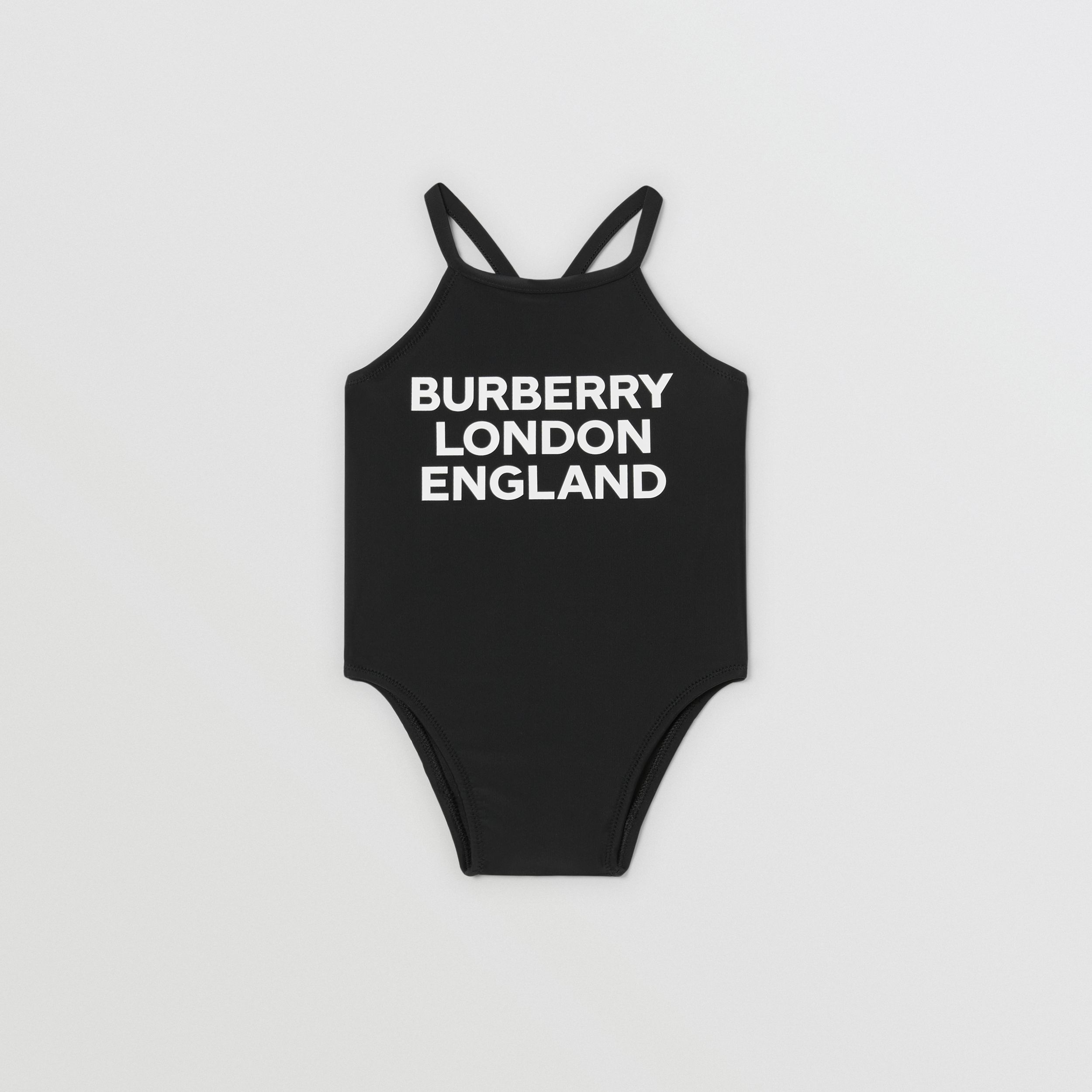 Logo Print Swimsuit in Black - Children | Burberry Canada - 1