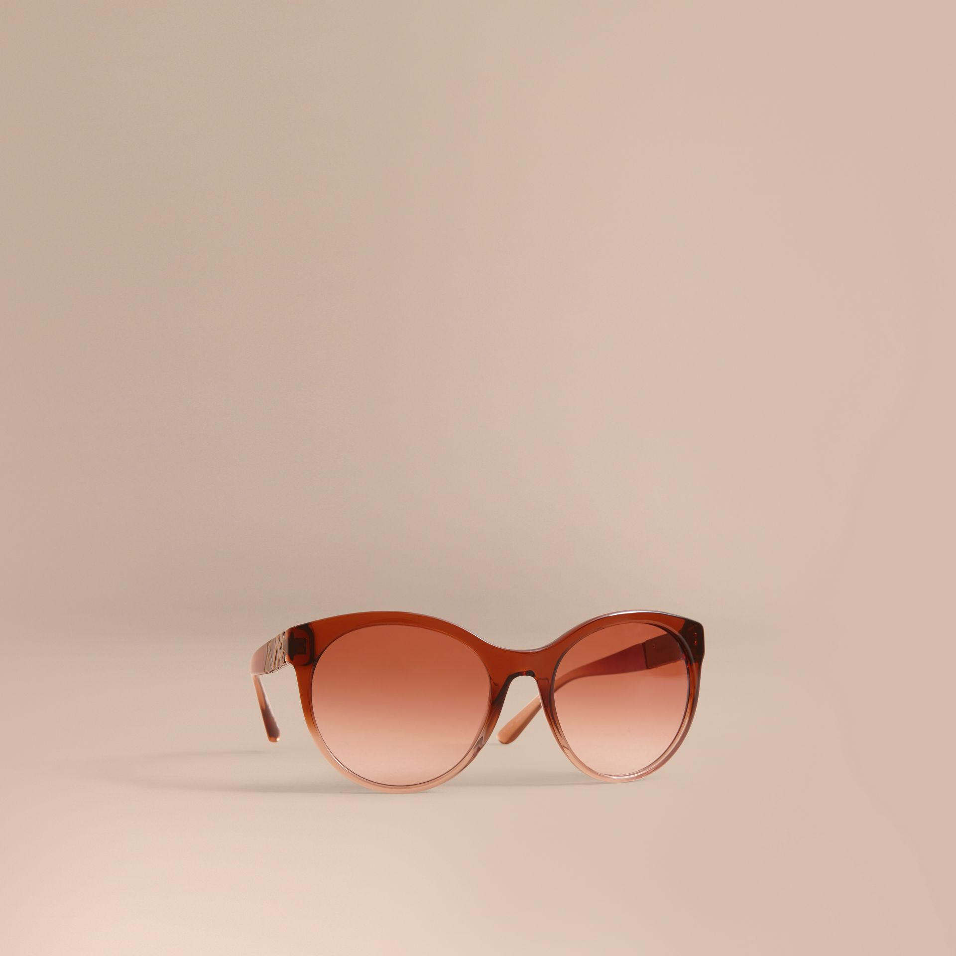 Check Detail Round Frame Sunglasses in Rose - Women | Burberry - gallery image 0
