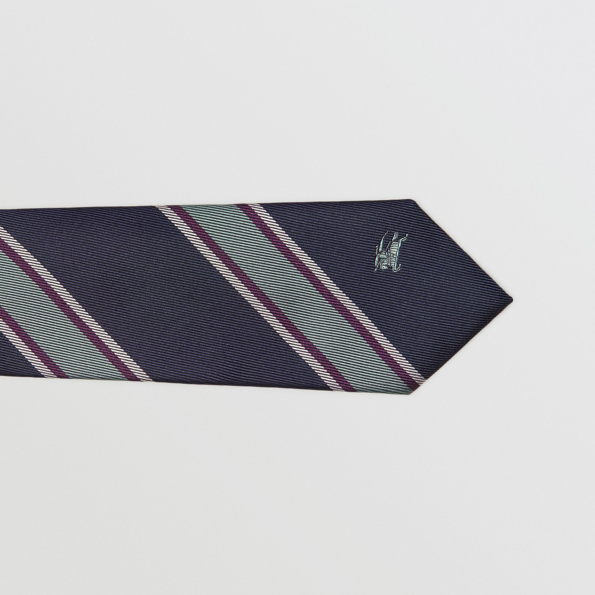 Slim Cut Striped Silk Jacquard Tie in Dark Indigo Blue - Men | Burberry - gallery image 1