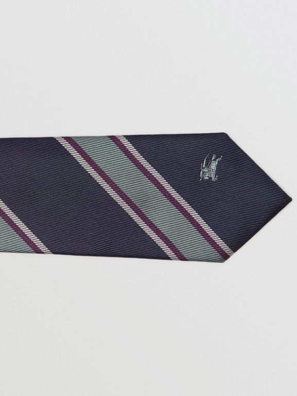 Slim Cut Striped Silk Jacquard Tie in Dark Indigo Blue - Men | Burberry - cell image 1