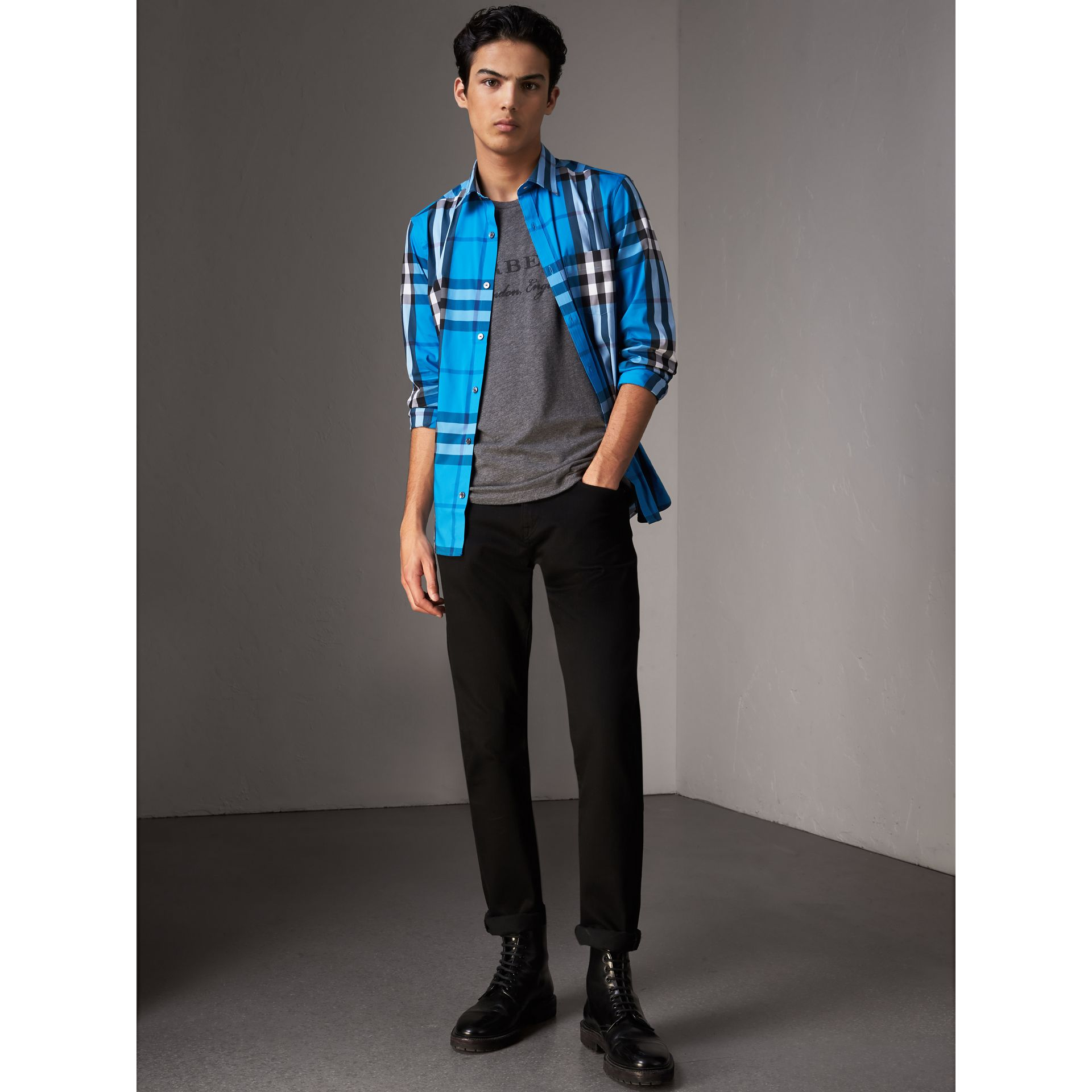 Check Stretch Cotton Shirt in Bright Blue - Men | Burberry Singapore - gallery image 0