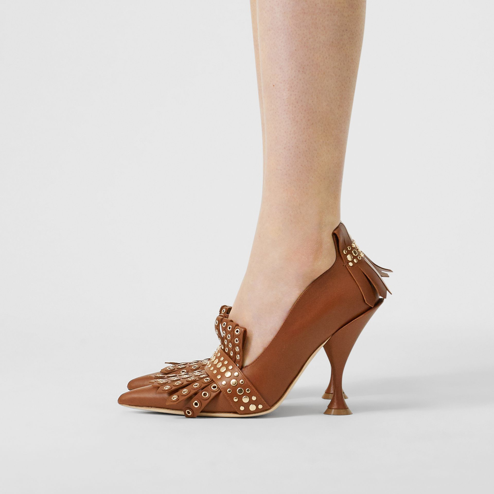 Studded Kiltie Fringe Leather Point-toe Pumps in Tan - Women | Burberry - gallery image 2