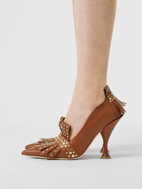 Studded Kiltie Fringe Leather Point-toe Pumps in Tan - Women | Burberry - cell image 2