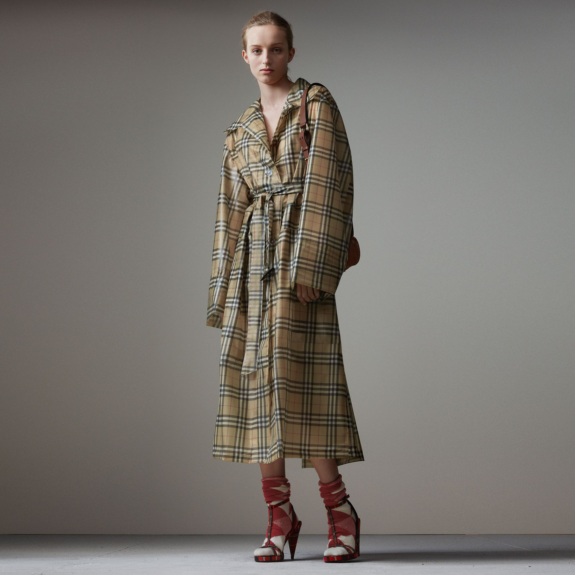 Vintage Check Soft-touch Plastic Single-breasted Coat in Antique Yellow - Women | Burberry - gallery image 0