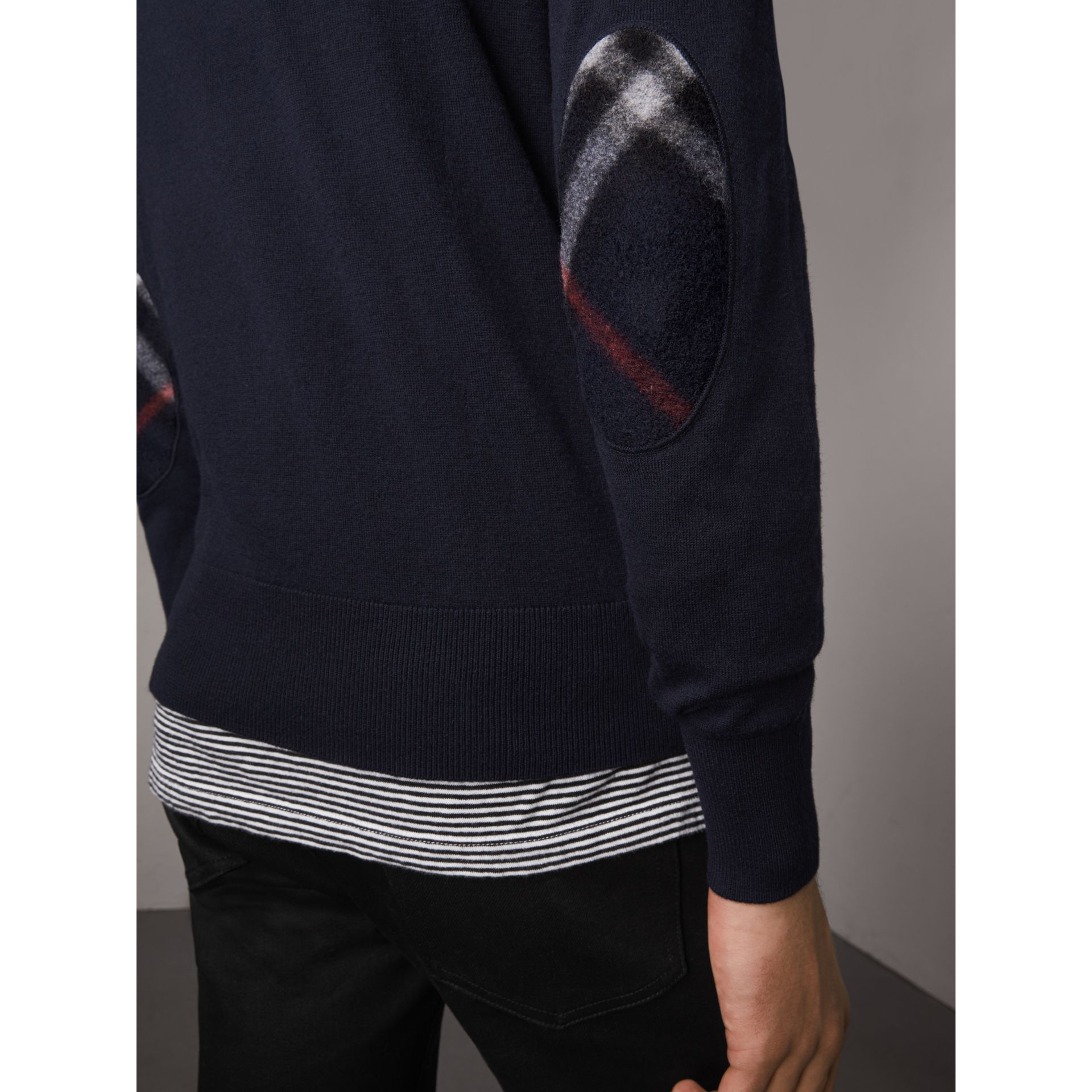 Zip-neck Cashmere Cotton Sweater in Navy - Men | Burberry Singapore - gallery image 1
