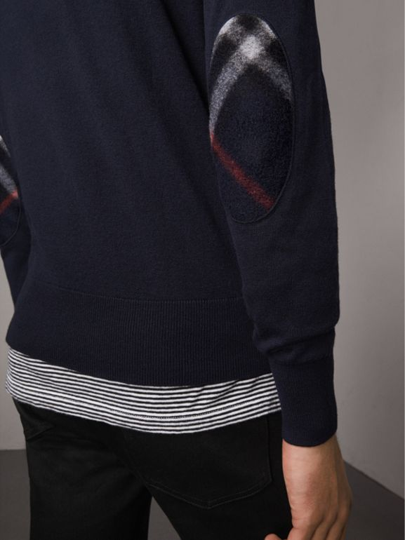 Zip-neck Cashmere Cotton Sweater in Navy - Men | Burberry - cell image 1