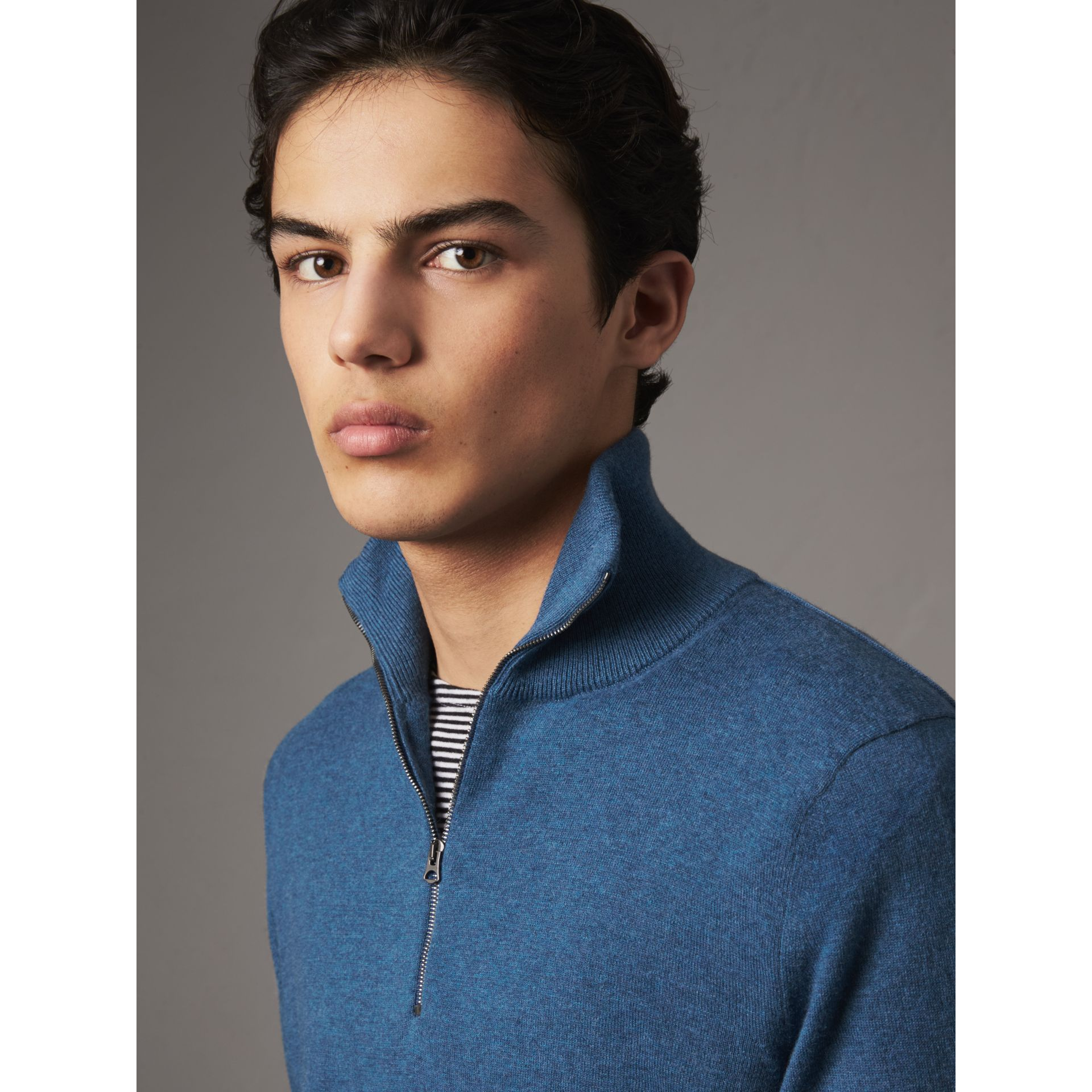 Zip-neck Cashmere Cotton Sweater in Steel Blue - Men | Burberry United Kingdom - gallery image 1