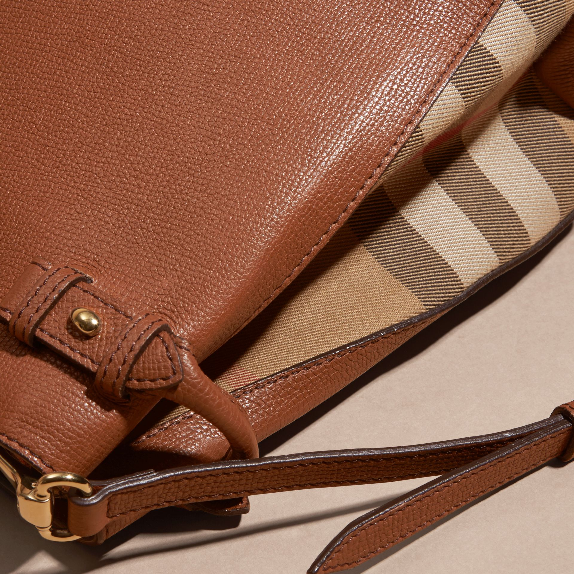 The Medium Banner in Leather and House Check in Tan - Women | Burberry - gallery image 6