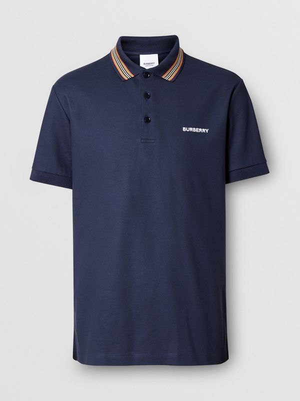 Icon Stripe Detail Cotton Piqué Polo Shirt in Uniform Blue - Men | Burberry - cell image 3