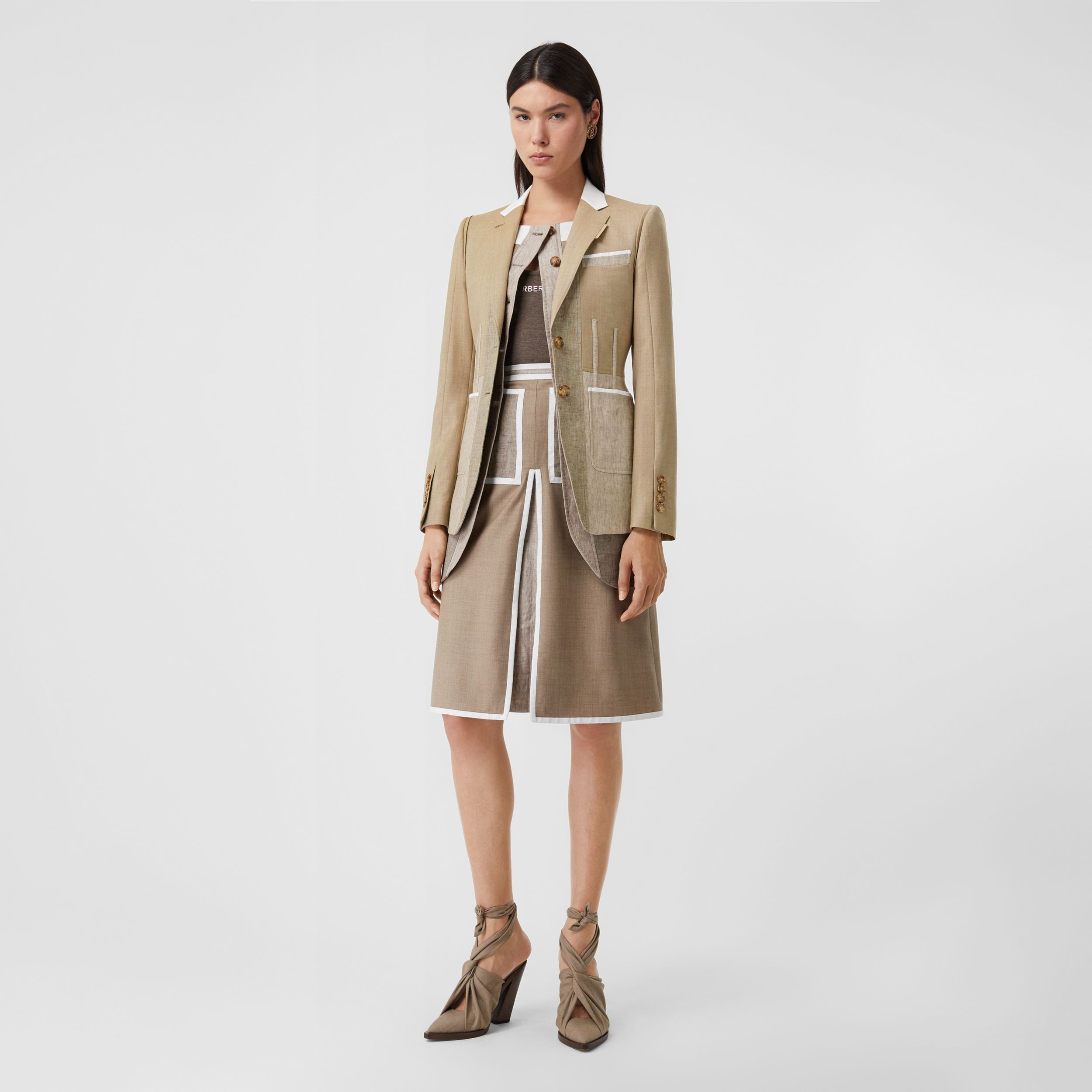Contrast Seam Wool Cashmere and Linen Blazer in Pecan Melange - Women | Burberry - 1