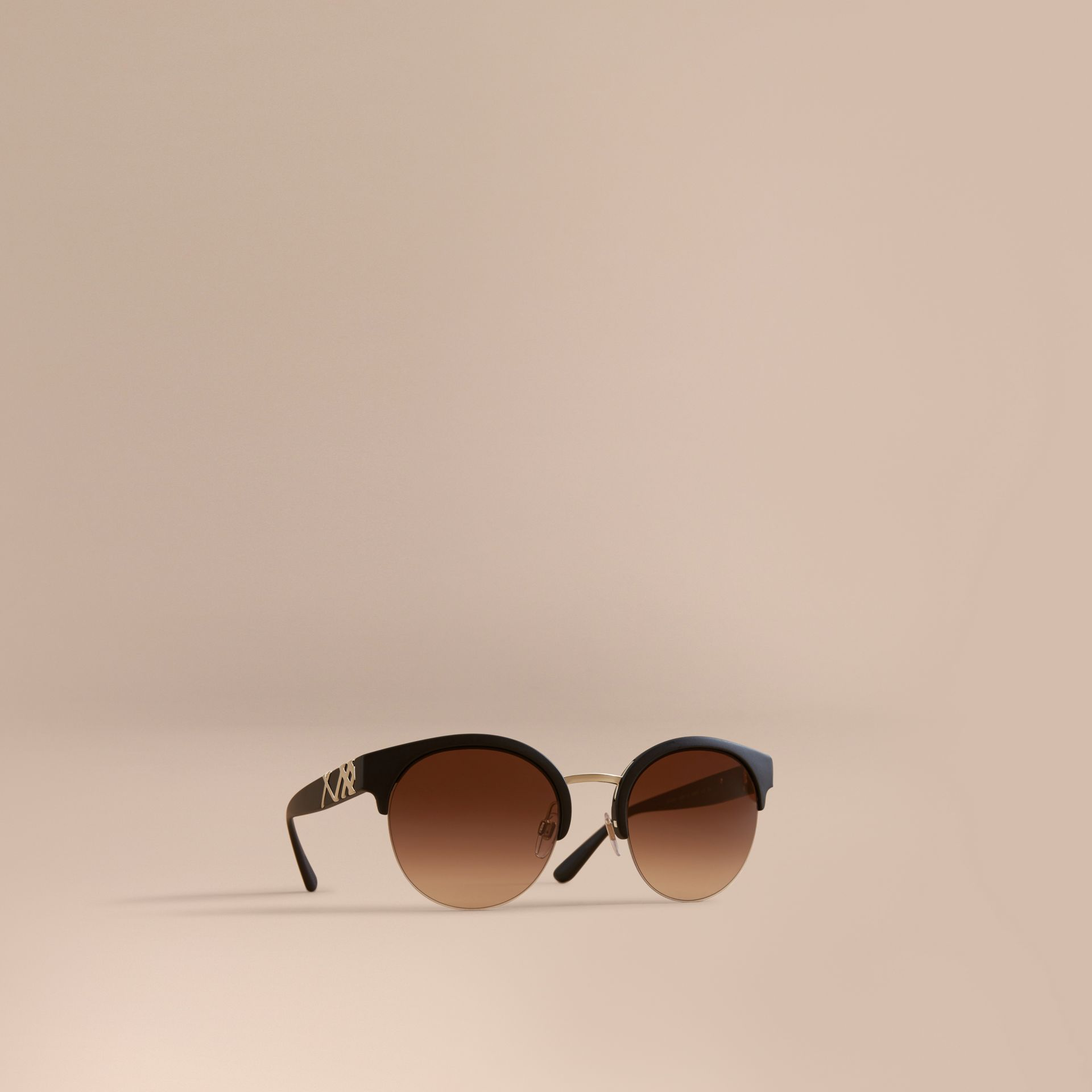 Check Detail Round Half-frame Sunglasses in Black - Women | Burberry - gallery image 1