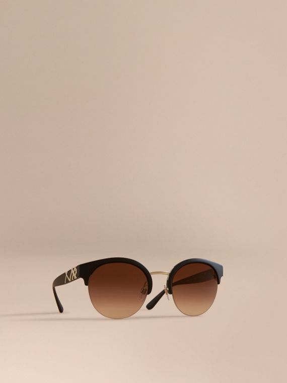 Check Detail Round Half-frame Sunglasses in Black