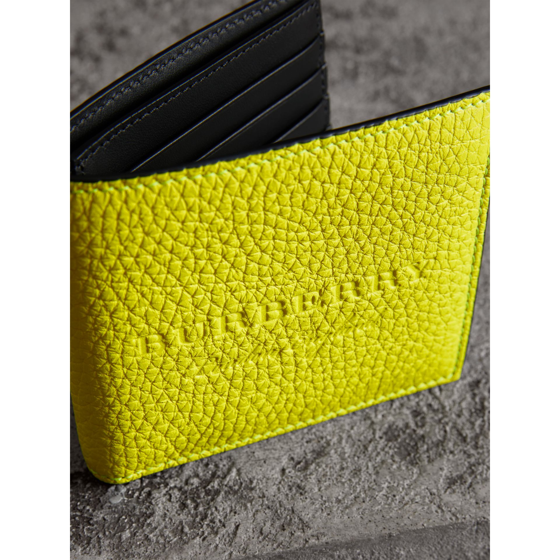 Embossed Leather International Bifold Wallet in Neon Yellow - Men | Burberry - gallery image 2
