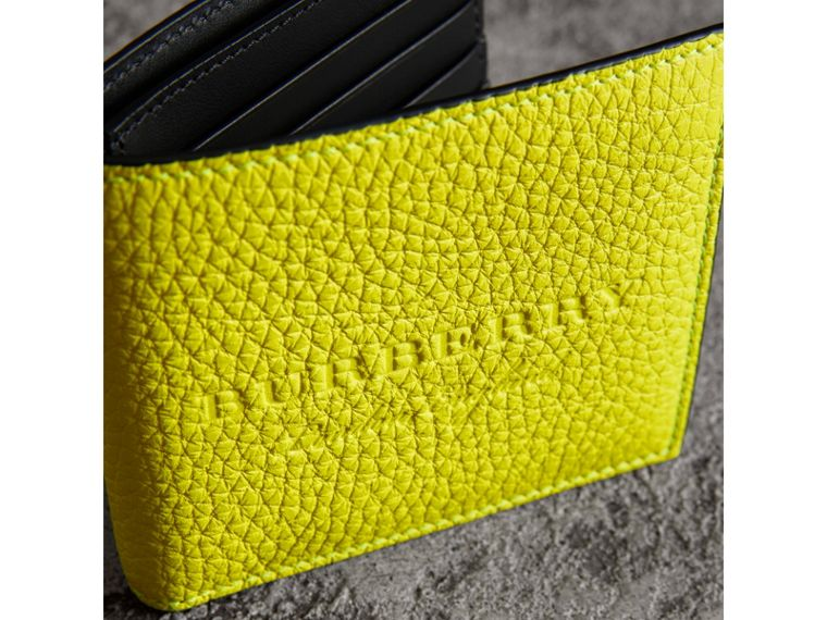 Embossed Leather International Bifold Wallet in Neon Yellow - Men | Burberry - cell image 1