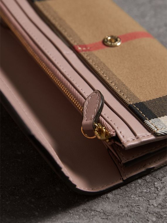House Check And Leather Continental Wallet in Pale Orchid - Women | Burberry United Kingdom - cell image 3