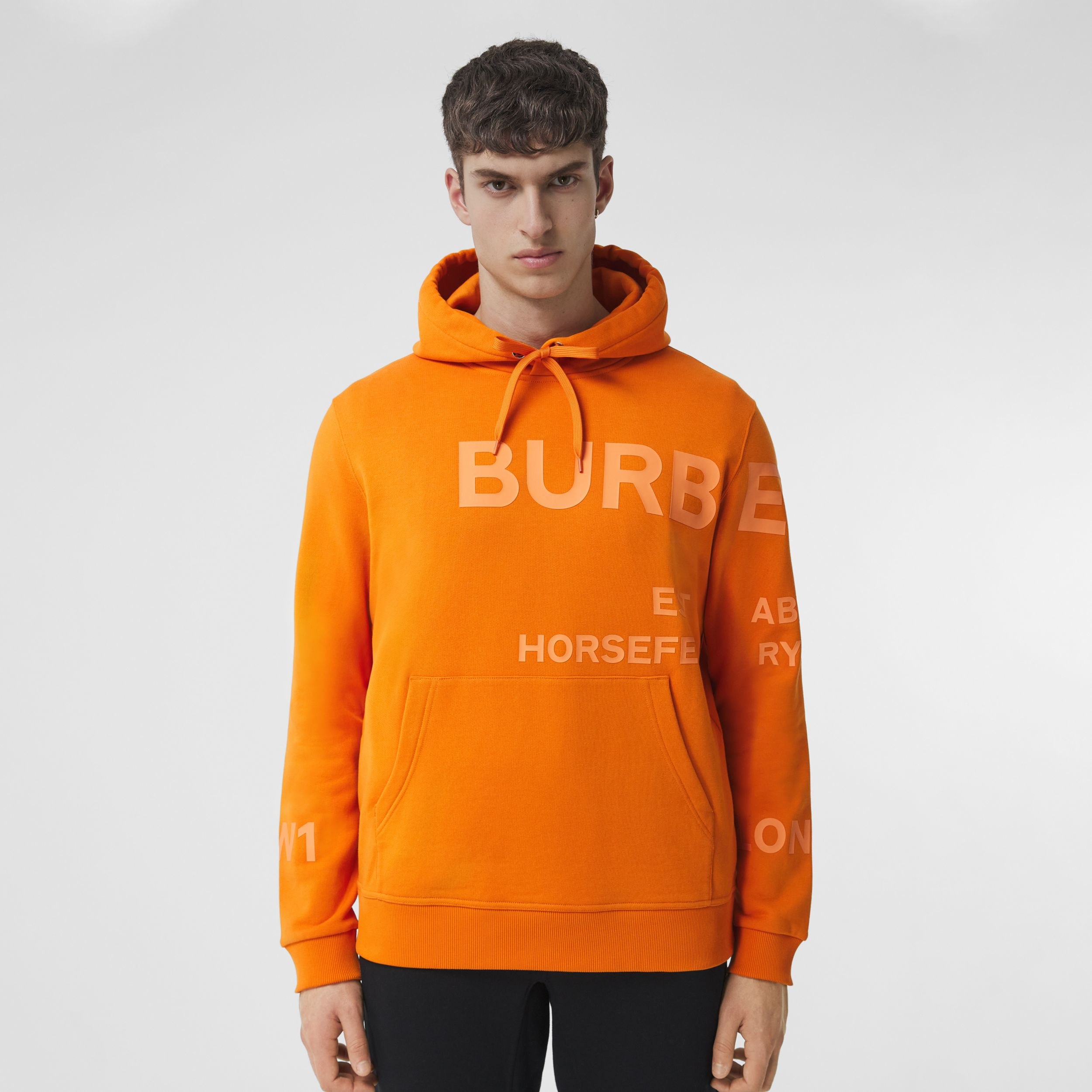 Horseferry Print Cotton Hoodie in Deep Orange - Men | Burberry - 1