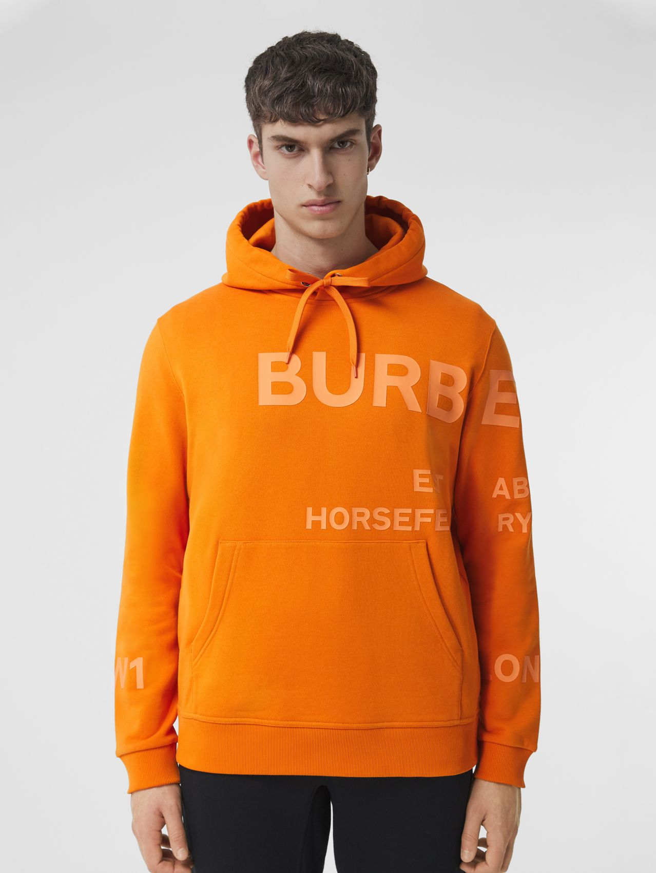 Horseferry Print Cotton Hoodie in Deep Orange