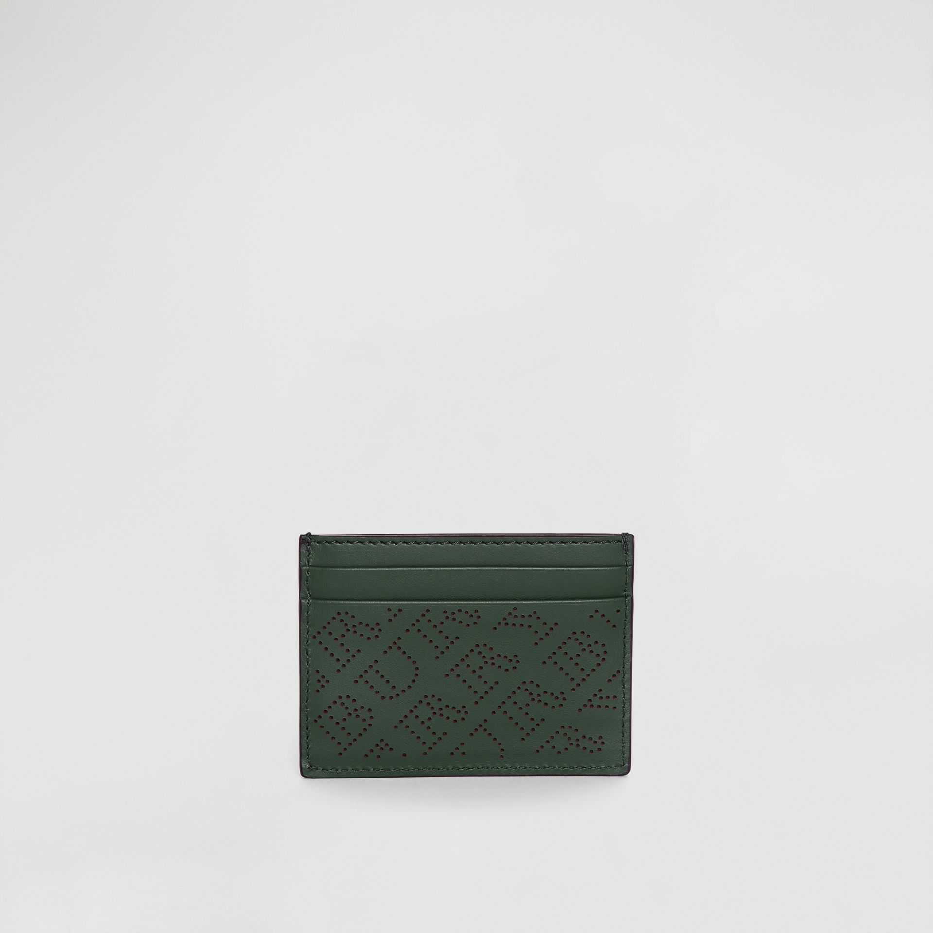 Perforated Logo Leather Card Case in Vintage Green - Women | Burberry - gallery image 5