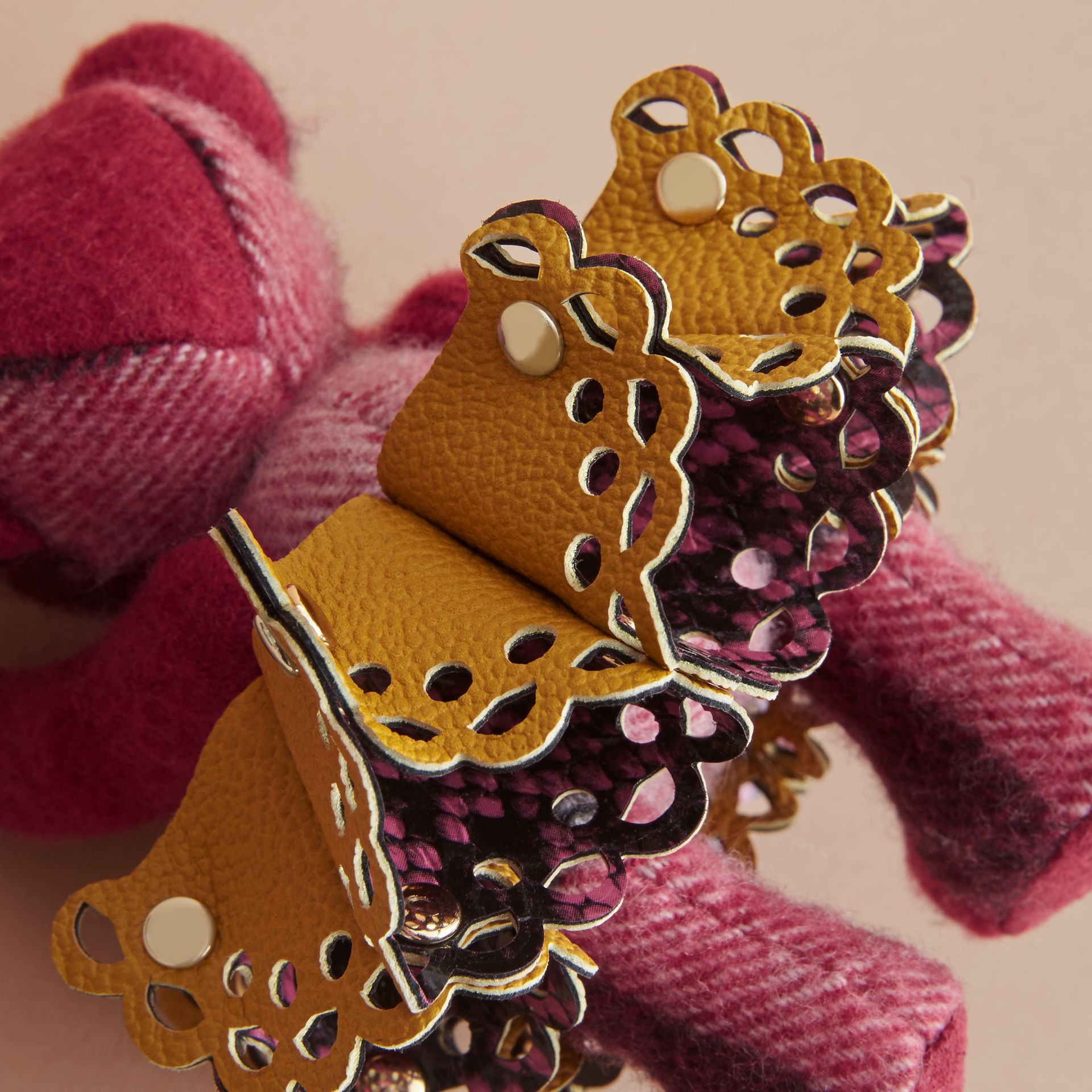 Thomas Bear Charm in Leather Lace and Crystals in Fuchsia Pink - Women | Burberry - gallery image 4