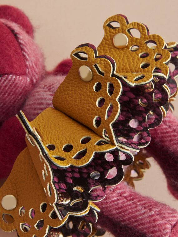 Thomas Bear Charm in Leather Lace and Crystals in Fuchsia Pink - Women | Burberry - cell image 3