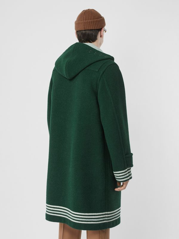 Stripe Detail Double-faced Wool Duffle Coat in Dark Pine Green - Men | Burberry United Kingdom - cell image 2