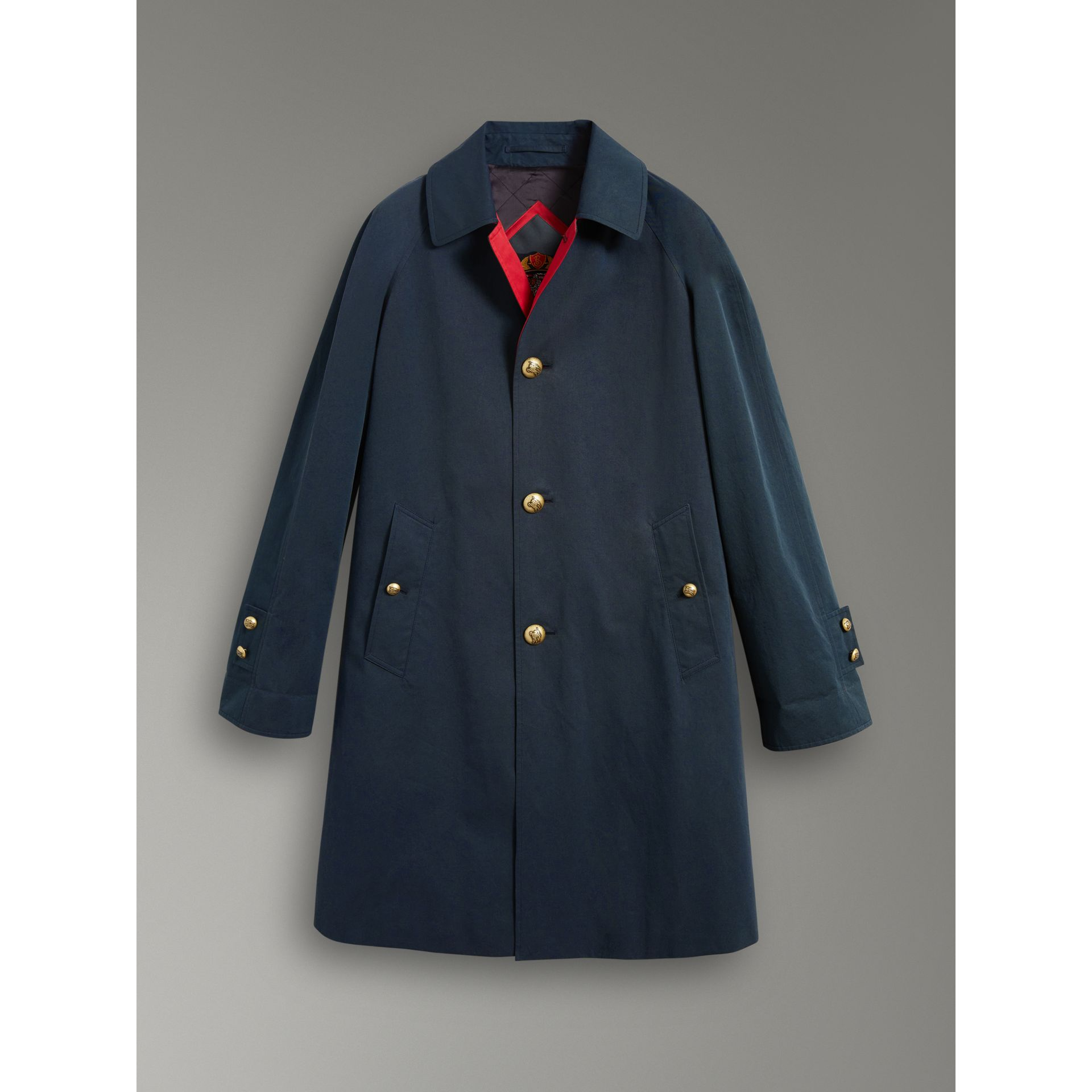 Reissued Waxed Cotton Gabardine Car Coat in Navy - Women | Burberry Canada - gallery image 3