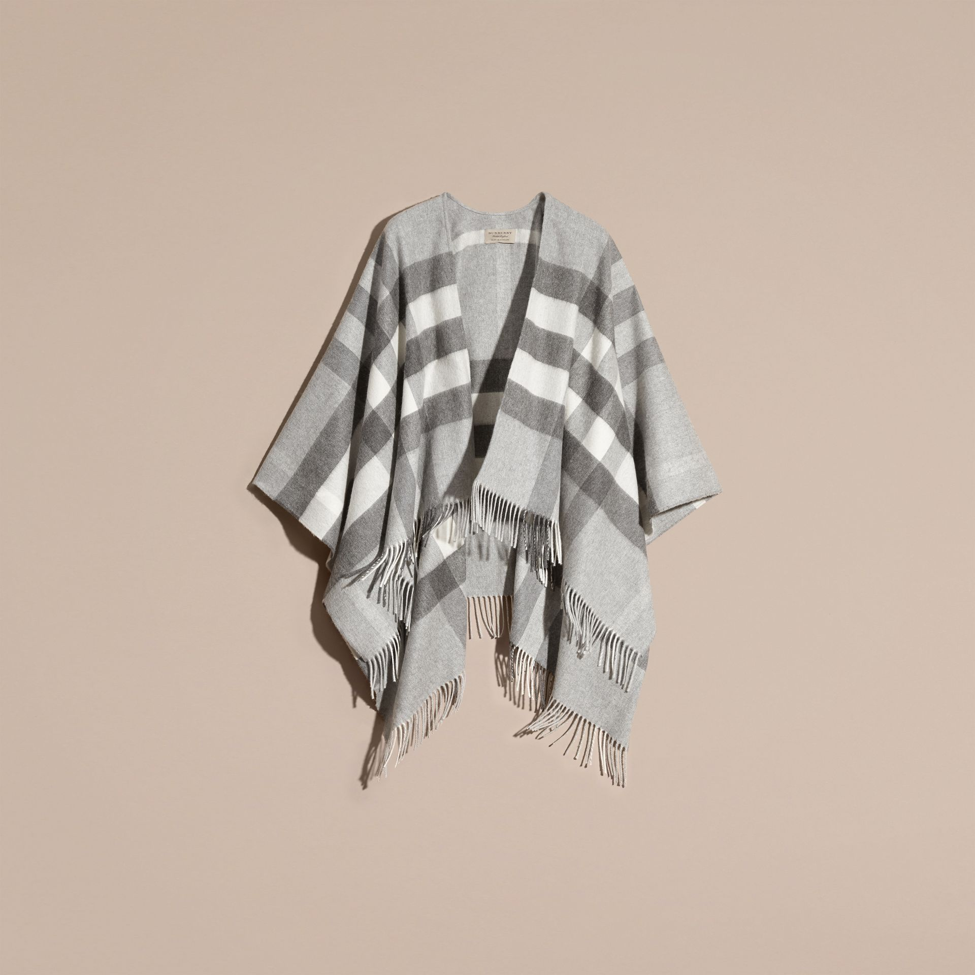 Check Cashmere and Wool Poncho Pale Grey - gallery image 4