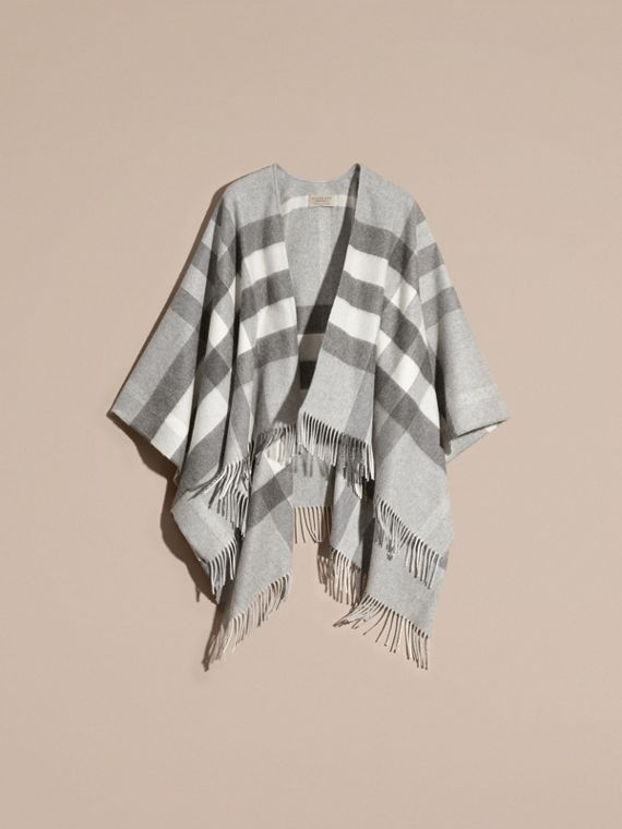 Check Cashmere and Wool Poncho Pale Grey - cell image 3