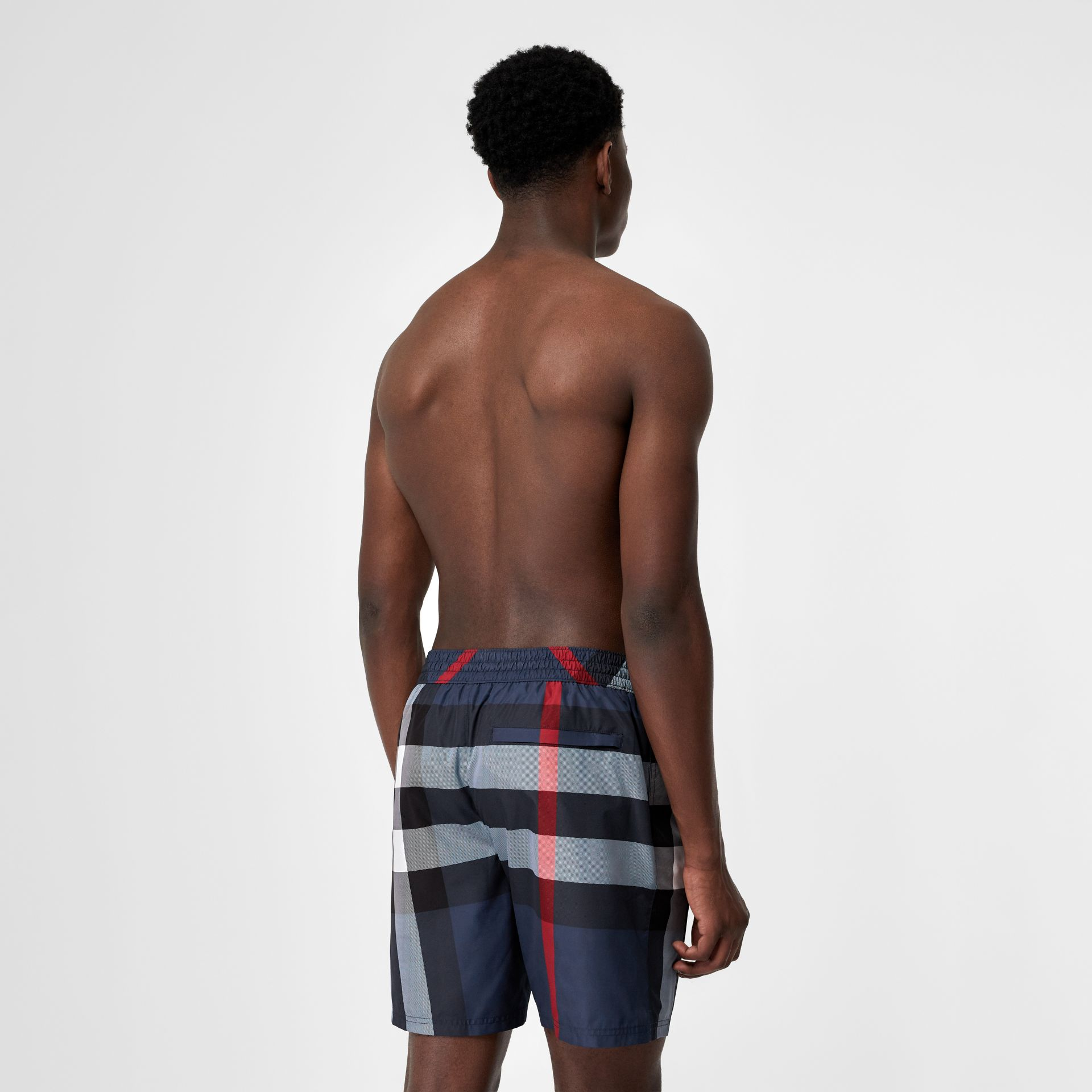 Check Drawcord Swim Shorts in Carbon Blue - Men | Burberry United Kingdom - gallery image 1