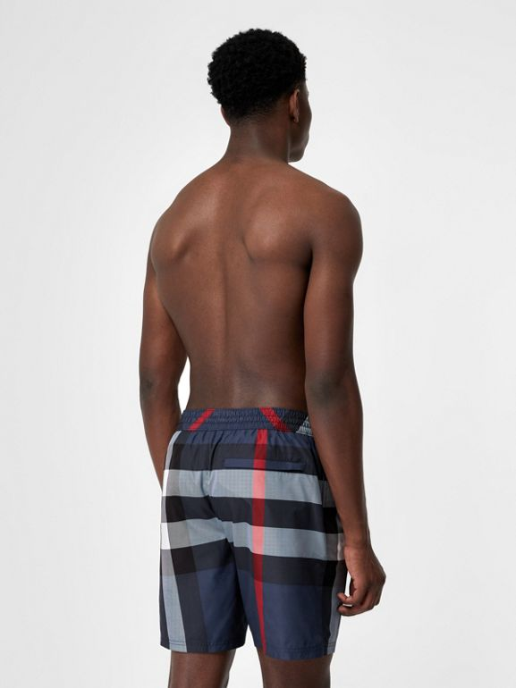 Check Drawcord Swim Shorts in Carbon Blue - Men | Burberry - cell image 1