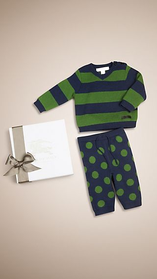 Patterned Cashmere Two-piece Baby Gift Set