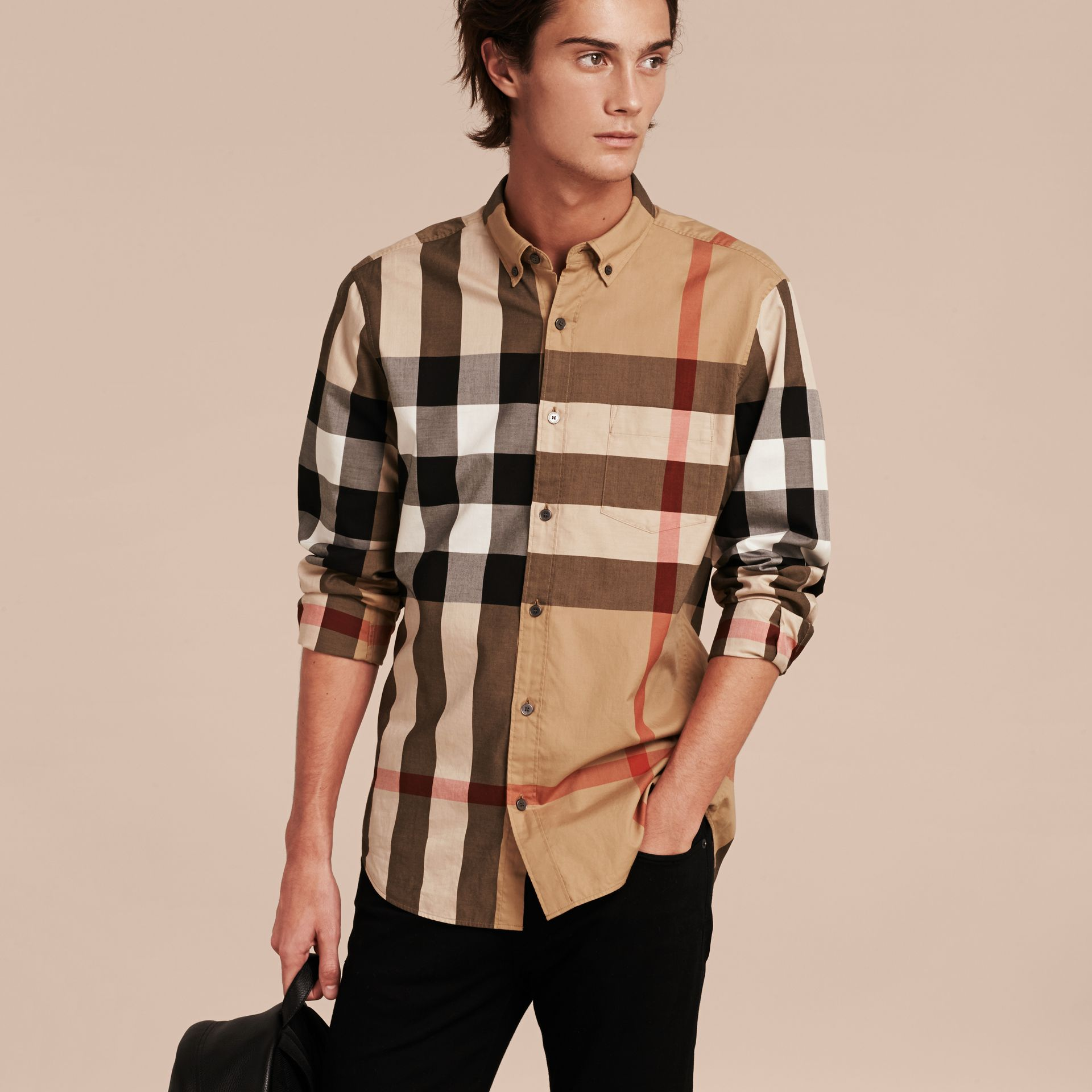 Camel Check Cotton Shirt Camel - gallery image 5