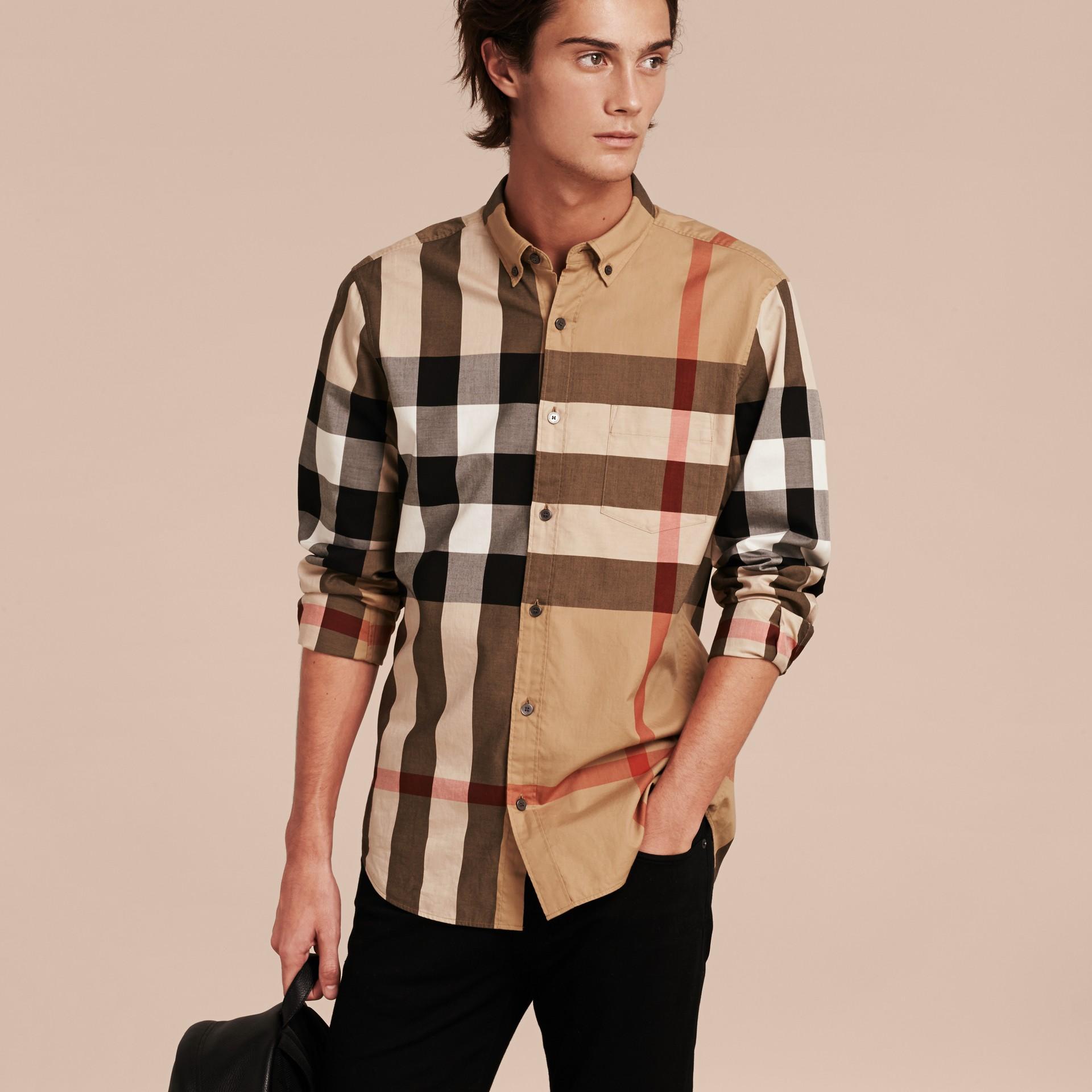 Cammello Camicia in cotone con motivo check Cammello - immagine della galleria 5