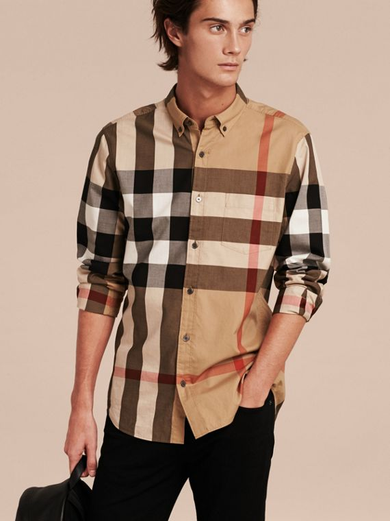 Check Cotton Shirt Camel