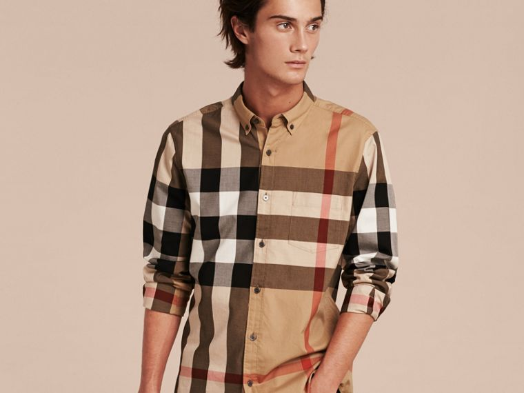 Camel Check Cotton Shirt Camel - cell image 4