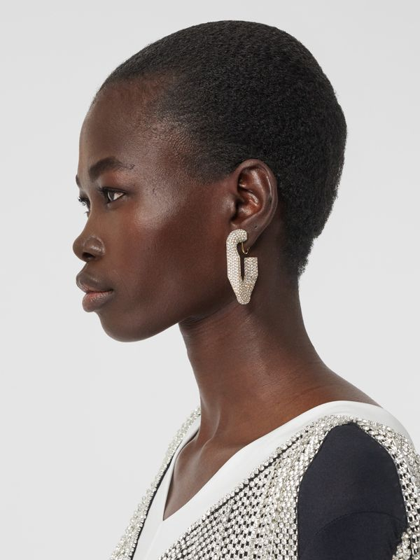 Crystal Gold-plated Chain-link Hoop Earrings in Light Gold/crystal - Women | Burberry - cell image 2